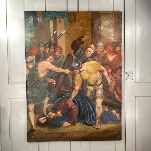 Antique French Religious Oil Painting Study of One of the Stations of the Cross (1 of 10)