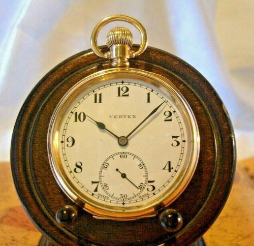 Swiss Vertex Pocket Watch 1926 15 Jewel 10ct Rose Gold Filled Case FWO (1 of 12)