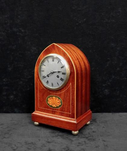 French Belle Epoque Mahogany & Inlaid Mantel Clock (1 of 7)