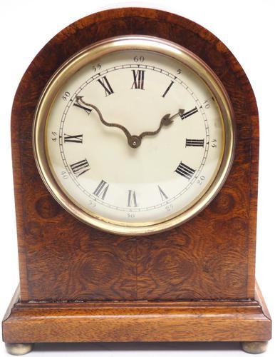 Fantastic Burr Walnut Mantle Clock Rare Snake Hands 8 Day Mantle Clock (1 of 11)