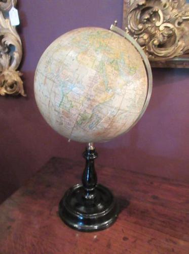"Antique 8"" Paper Mache Terrestrial Globe (1 of 8)"