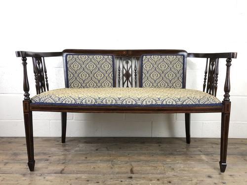 Antique Edwardian Mahogany Inlaid Parlour Sofa (1 of 15)