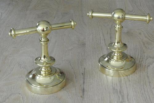 Aesthetic Movement Brass Fire Dogs/ Fire Iron Rests Circa 1880's (1 of 6)