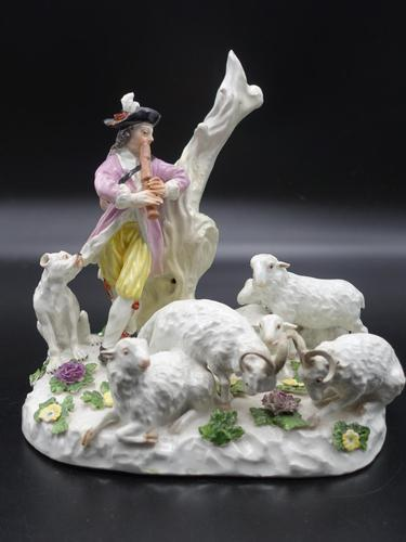 Wonderful Quality Meissen Group of a Shepherd, His Dog & Flock (1 of 6)