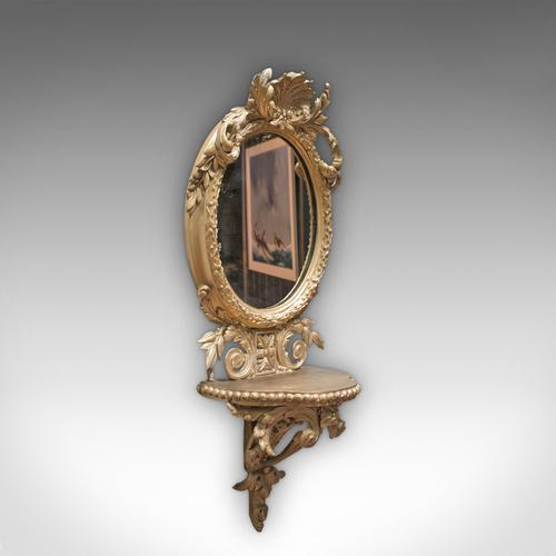 Antique Wall Mirror. French, Gilt Gesso, Oval, Ornate, Victorian c.1850 (1 of 9)