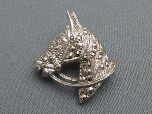 Silver and marcasite horsehead brooch (1 of 5)