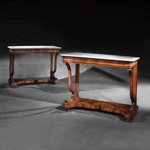 Pair Of Early 19th Century Italian Walnut And Marble Top Console Tables (1 of 10)