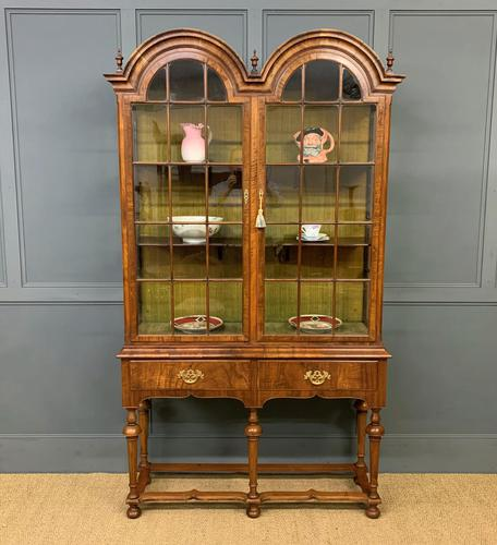 Burr Walnut Double Dome Topped Display Cabinet (1 of 18)
