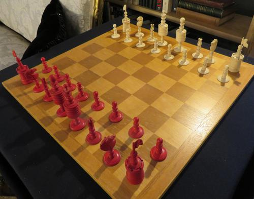 1850 Chess Set Barley Corn English Complete (1 of 5)