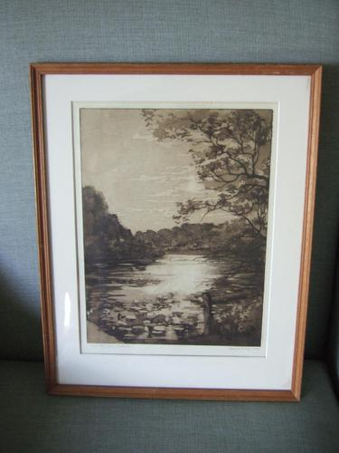 """Daisy M Norrie:  Etching """"The Lily Ponds, Barcheston"""" 1925 (1 of 4)"""