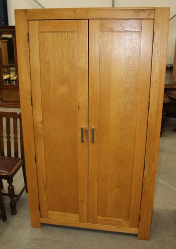 1970s Country Golden Oak 2 Door Wardrobe with Shelf (1 of 4)