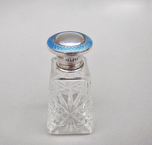 Art Deco Silver & Guilloche Enamel Scent Bottle by Henry Perkins, London 1927 (1 of 6)
