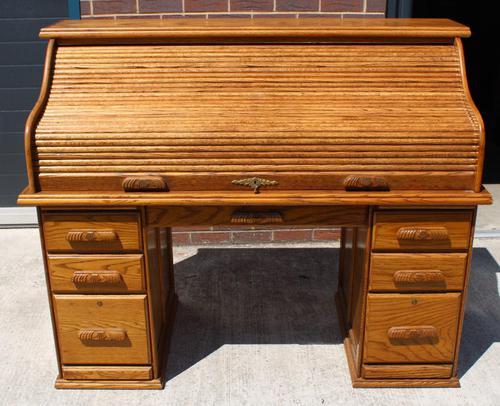 1960s Golden Oak Stype Rolltop Desk - Well Fitted (1 of 5)