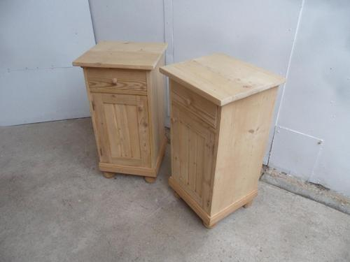 Lined Pair of Antique Pine Victorian Bedside Cabinets to wax / paint (1 of 8)