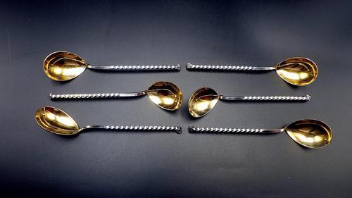 6 x Vintage Russian Silver Gilt Barley Twist Caviar Spoons c.1952 (1 of 6)
