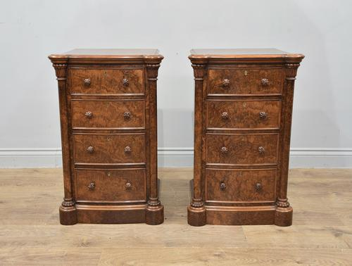 Pair of Walnut Bedside Chests of Drawers attributed to Gillows (1 of 7)
