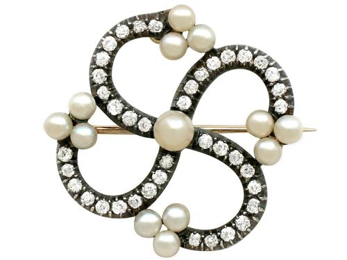 1.50ct Diamond & Pearl, 9ct Yellow Gold Brooch - Antique Victorian (1 of 9)