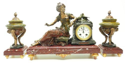 Wonderful French Figural Mantel Clock Lady Reclining 8 Day Mantle Clock with side Urns (1 of 12)