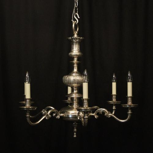 English Silver Plated 6 Light Antique Chandelier (1 of 10)