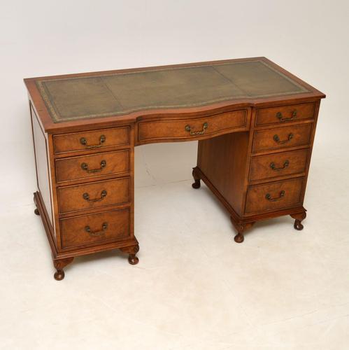 Burr Walnut Pedestal Desk c.1930 (1 of 10)