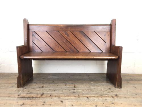 Antique Pitch Pine Church Pew with Enamel Number '37' (1 of 12)