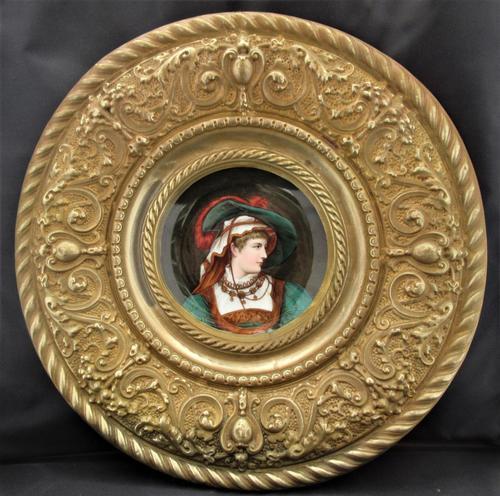 Antique Berlin Porcelain Dish in Repoussée Brass Frame c.1880 (1 of 10)