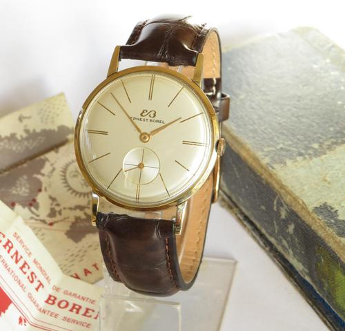 Gents 9ct gold Ernest Borel watch with box and papers (1 of 5)