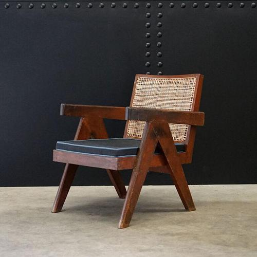 Low Easy Armchair, V-type Legs and Cane by Pierre Jeanneret (1 of 5)
