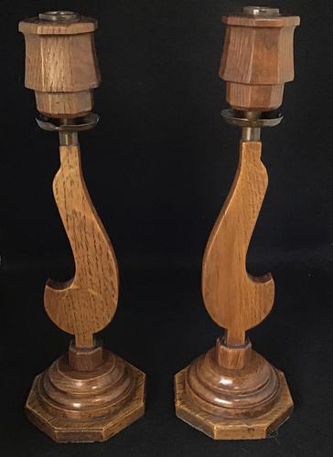 Pair of Art Deco Oak and Copper Candlesticks (1 of 6)