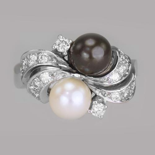 Vintage 18ct Gold Pearl & Diamond Toi & Moi Ring 1960's Grey Pearl Cocktail Twist Ring (1 of 16)