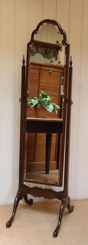 Queen Anne Style Mahogany Cheval Mirror (1 of 10)