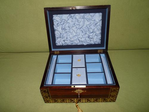 QUALITY Inlaid Regency Rosewood Jewellery Box + Tray. c1830 (1 of 15)