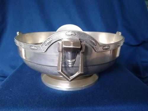 Pewter Centrepiece Bowl, Arts & Crafts by Frank Cobb (1 of 3)