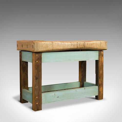 Antique Butcher's Block, English, Beech, Teak, Work Table, Kitchen Island, 1900 (1 of 12)
