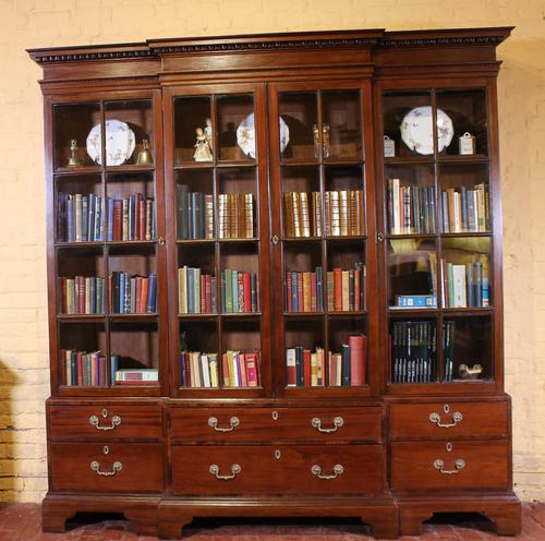 Four Doors Breakfront Bookcase In Mahogany - Early 19th Century (1 of 11)