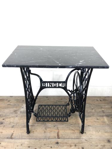 Antique Singer Sewing Machine Table with Marble Top (1 of 8)