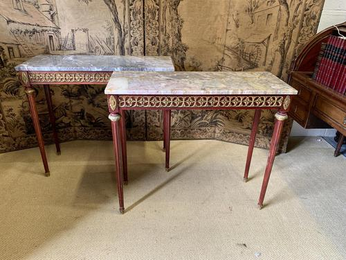 Pair of Empire Style Marble Top Console Tables (1 of 8)