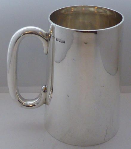 Edwardian Mappin & Webb Hallmarked Solid Silver 1 Pint Tankard Christening Mug (1 of 11)