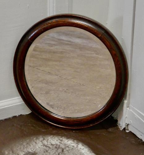19th Century Round Oak Wall Mirror (1 of 3)