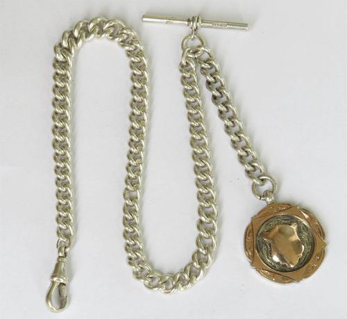 1909 Silver Pocket Watch Chain, 9ct Gold & Silver Fob (1 of 3)