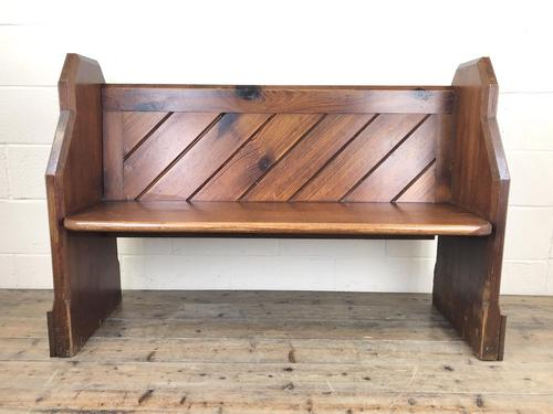Antique Pitch Pine Church Pew with Enamel Number 28 (1 of 12)
