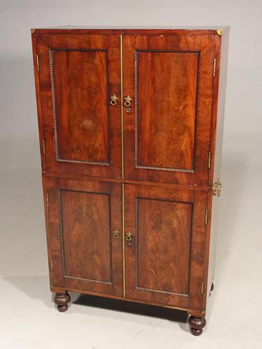 Very Rare Regency Period Mahogany Two Part Campaign Cabinet (1 of 6)