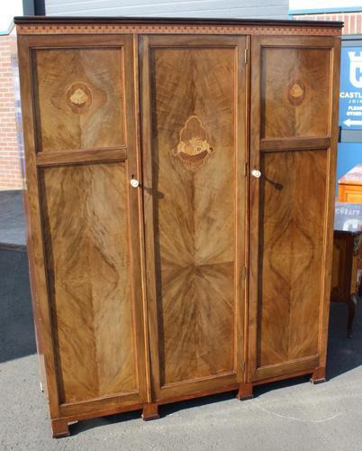 1940s Walnut 3 Door Wardrobe with Inlay Detailing. (1 of 7)