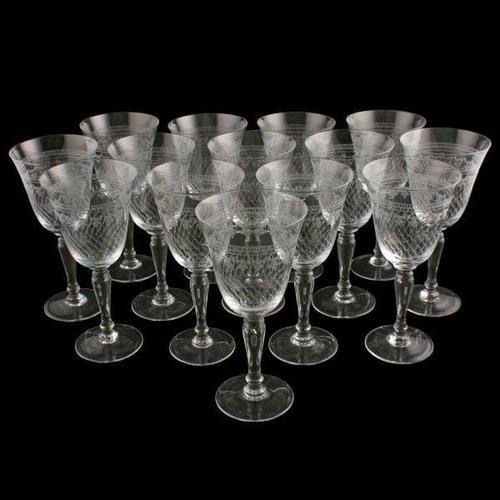 Set of 14 Edwardian Wine Glasses (1 of 7)