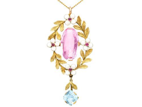 8.84ct Pink Topaz, 1.80ct Aquamarine, 0.10ct Ruby & Enamel, 15ct Yellow Gold Pendant - Antique c.1910 (1 of 9)