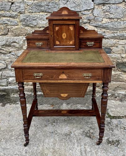 Antique Rosewood Inlaid Writing Desk (1 of 19)