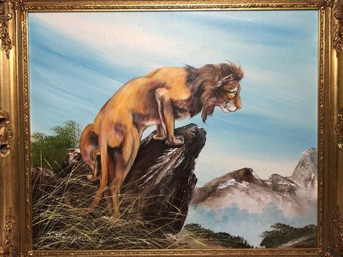 Fine Vintage Art 20th Century Oil Canvas Painting African Standing Lion Portrait (1 of 10)