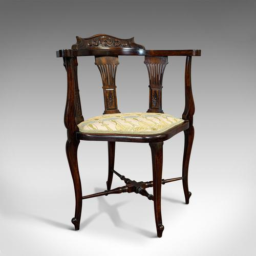 Antique Corner Armchair, French, Beech, Seat, Art Nouveau, Victorian c 1890 (1 of 12)