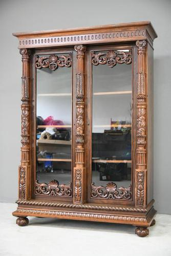Anglo Indian Carved Rosewood Glazed Cabinet (1 of 14)