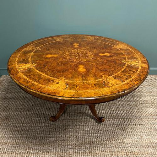 Large Figured Walnut Circular Antique Dining Table (1 of 8)